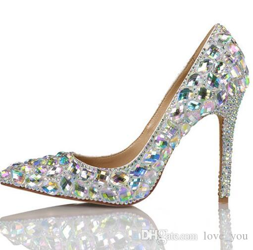 New Crystal Rhinestone Shiny High Heel Female Lady'S Women Bridal Evening Prom Party Club Bar Wedding Bridesmaid Shoes Bridal Shoes Wedding Bridal