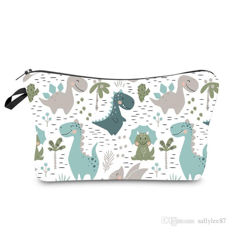 Digitaldruck Wasserdicht kosmetische Beutel Dinosaurier-Muster-Handtasche Frauen Multi-Funktions-Spielraum-Speicher-Beutel