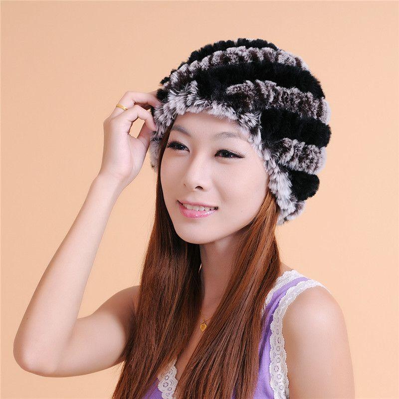 Kadınlar kış kap moda Örgü kürk şapka kaliteli moda şapka kadın kış sıcak şapka 100% kürk Ücretsiz Kargo