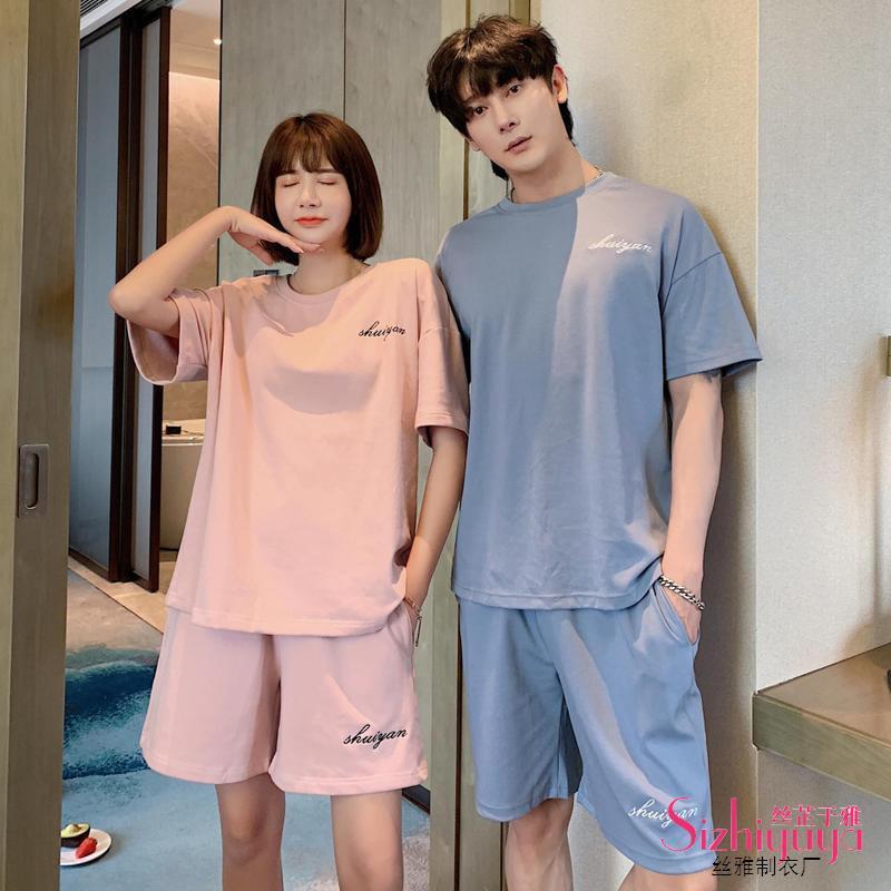 2020 Été manches courtes en coton Couple respirant Survêtement Set Casual pyjamas pour hommes et femmes Accueil Costume de nuit