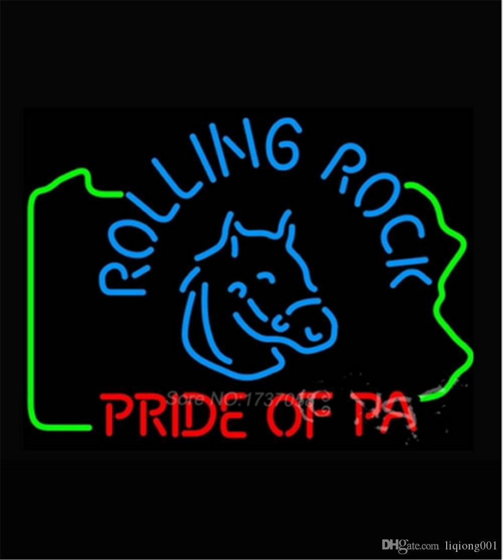 New Star Neon Sign Factory 17X14 Inches Real Glass Neon Sign Light for Beer Bar Pub Garage Room Rolling Rock Pride Of Pa.