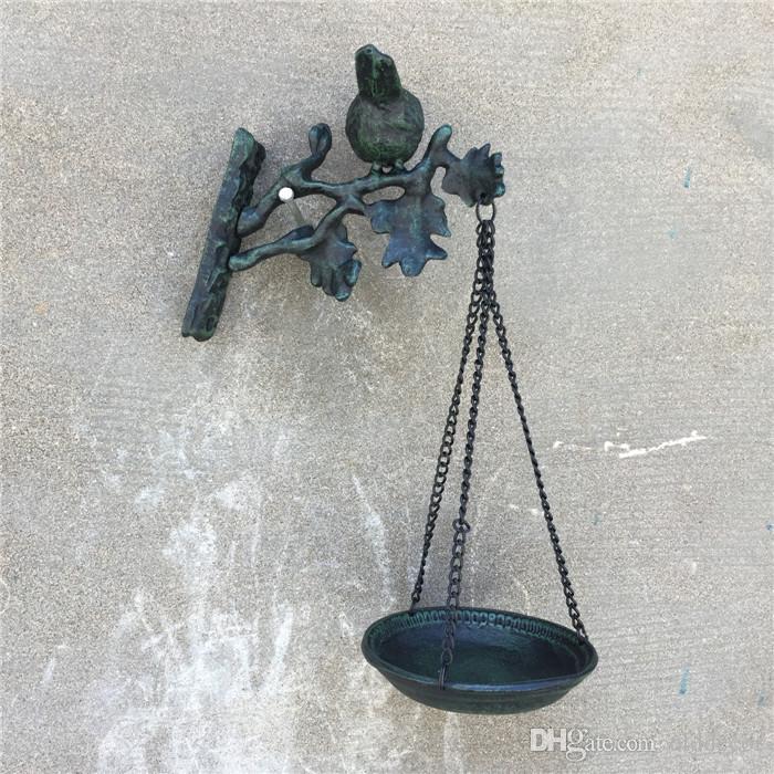 Cast Iron Wall Bird Bath and Feeder