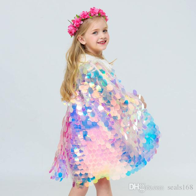 Mermaid Sequin Cape Cosplay Baby Kids Girls Glittering Princess Cloak With Beads Children Halloween Party Costume Clothing Supplies HH9-2262