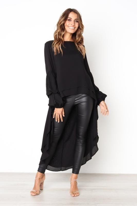 Women Irregular Front Short Back Long Blouse Fashion Puff Sleeve Double Layer Loose Asymmetrical Hem Chiffon Tops Shirts D30