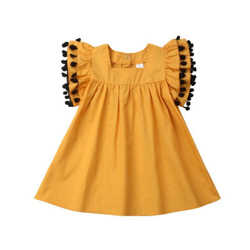 Costume Crianças vestido criança meninas crianças Tassel Princesa Partido Pageant Vestem roupas Vestido de Verão 1-6T bebê