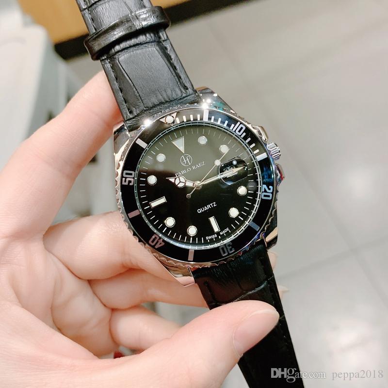 2020 Дата Новая мода платье Man часы мужской кварц часы подлинной коричневый кожаный мужской кожаный наручные часы бренд календарь Relojes De Marca Mujer