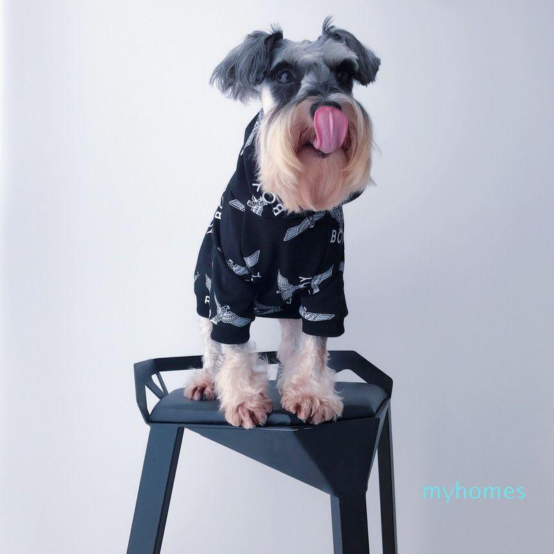 Pet Dog Зимние Куртки Плюшевый Щенок Шнауцер Модная Одежда Осень Зима Черная Печатная Одежда Для Домашних Кошек Собак