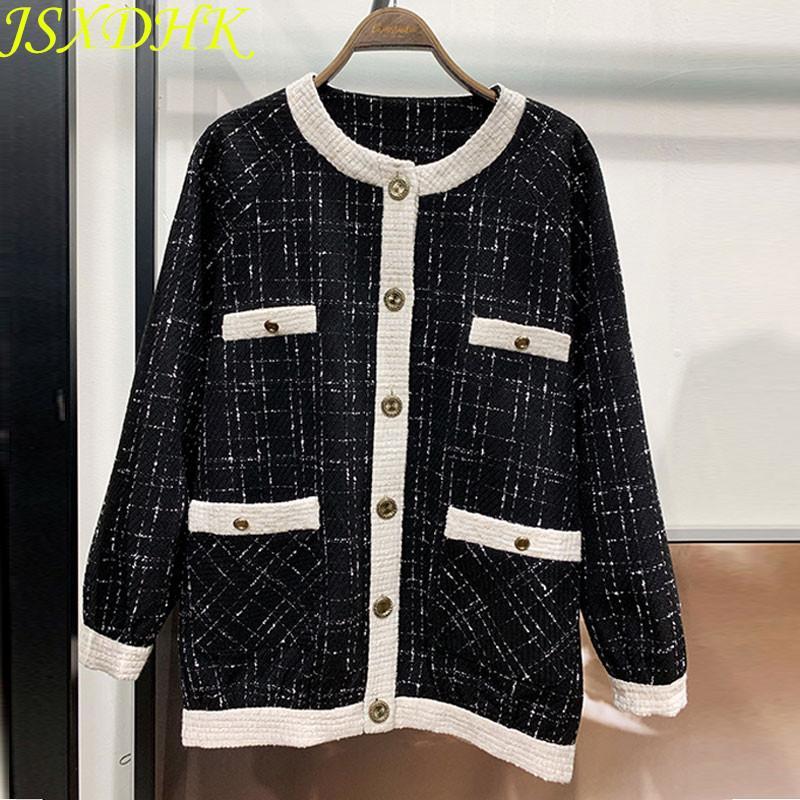 Jsxdhk صغيرة العطر تويد معطف أزياء الخريف الشتاء واحدة اعتلى منقوشة فضفاض قميص عارضة ضرب اللون الأسود جاكيتات