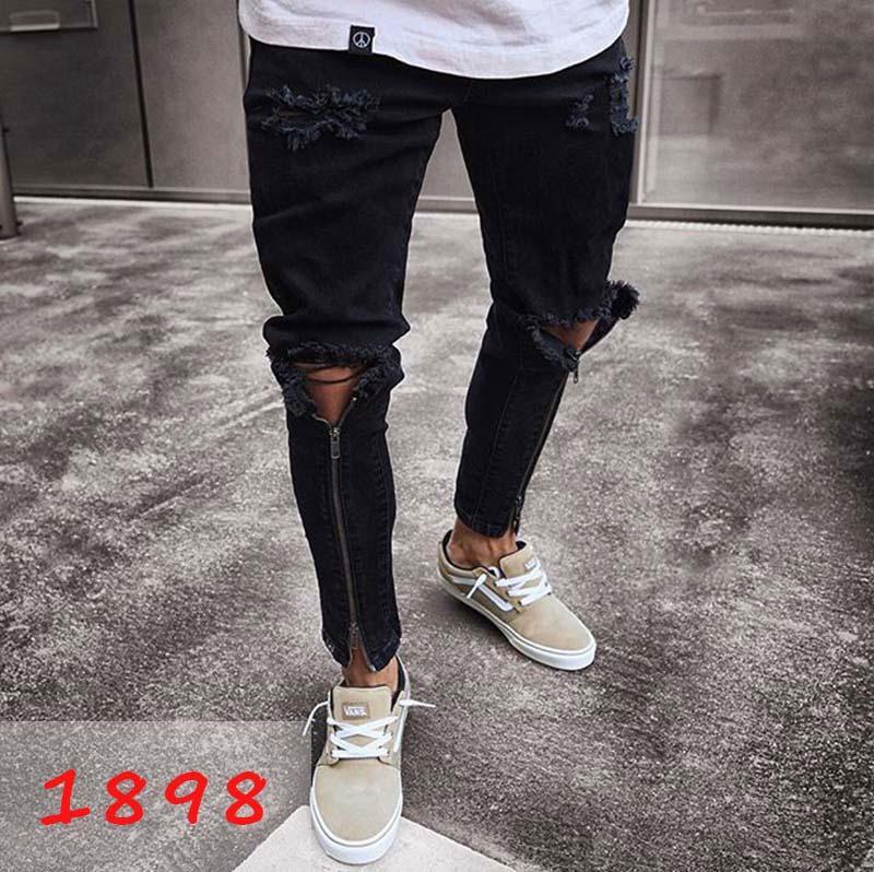 Yeni Erkek Skinny jean Casual Slim Biker Jeans Denim Diz Delik hiphop Yırtık Pantolon Yıkanmış Yüksek kaliteli Ücretsiz Kargo 666
