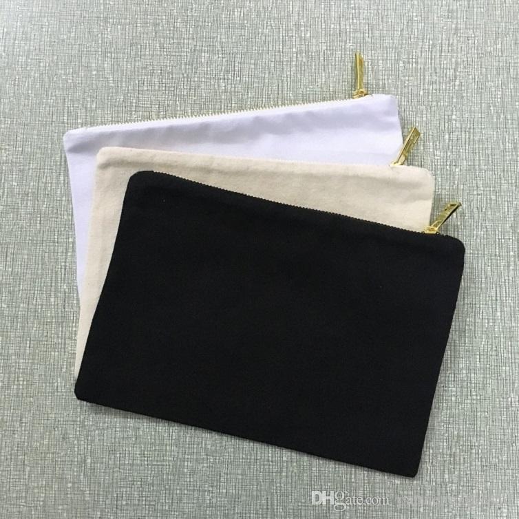 Fantastic metal zipperedd natural cotton canvas clutch bag black cotton cosmetic bag trendy blank makeup bag DIY screen printing