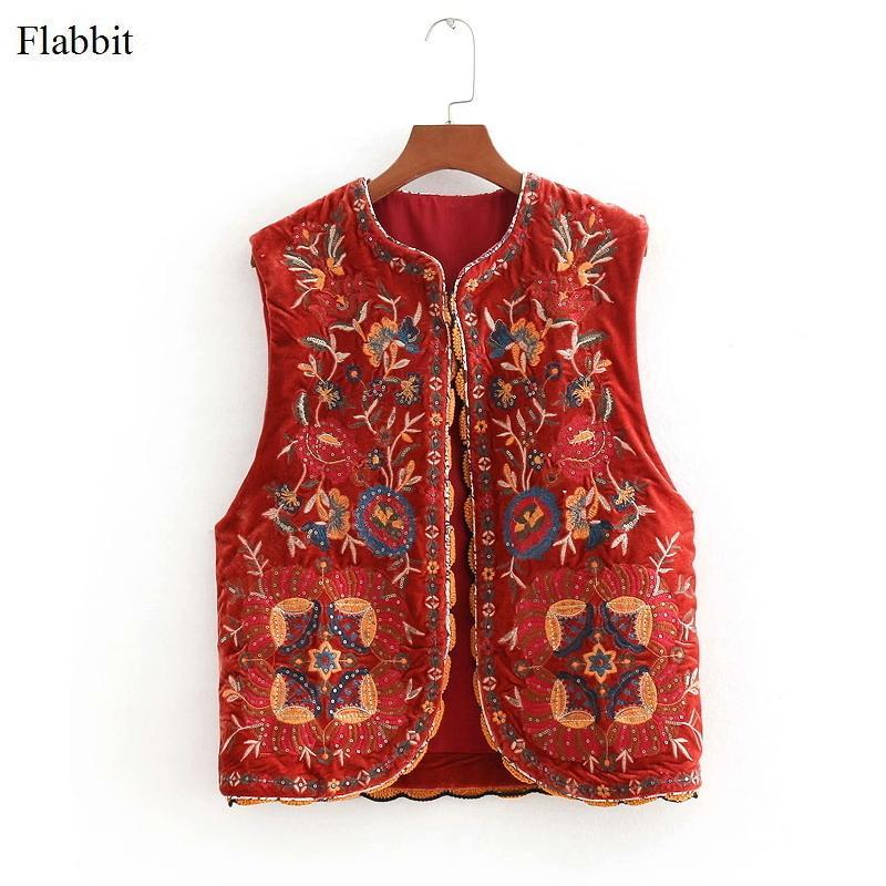 mulheres Flabbit nacional lantejoulas bordados estilo de mangas senhora jaqueta casual o pescoço de veludo streetwear casaco vermelho solto encabeça CT013 LY191223