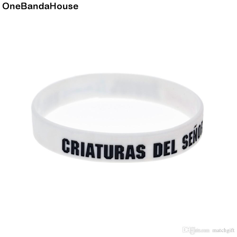 100 stücke debosded mode dekoration logo rubius omg silikongummi armband weiß erwachsene größe für förderung geschenk