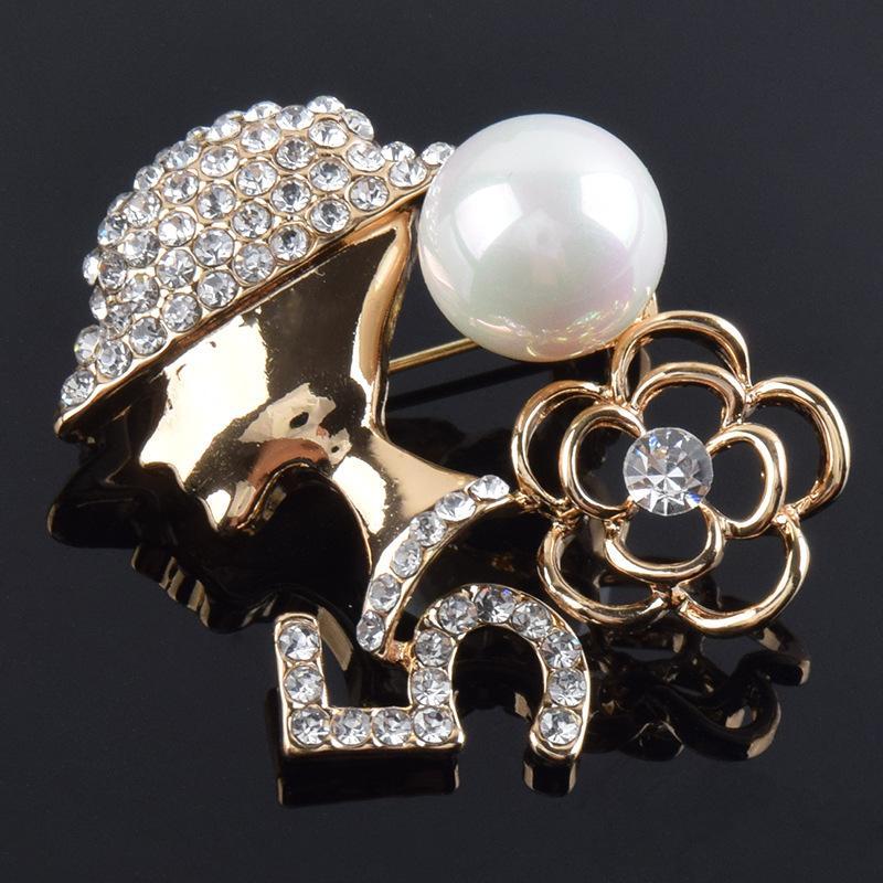 Digital 5 palavra cabide broche de pérolas rosa broche de cristal de moda das mulheres strass broche de jóias