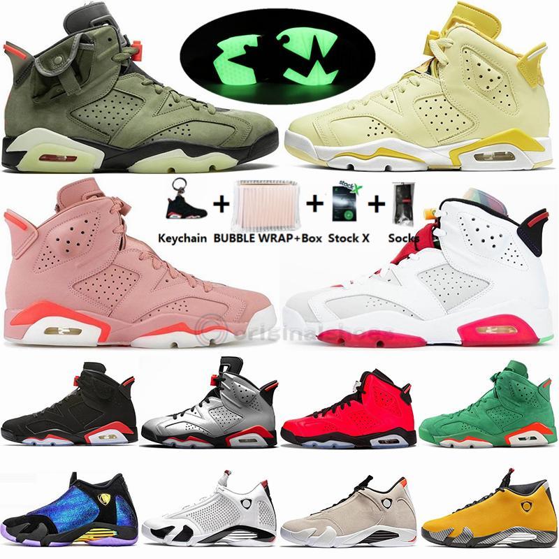 جديد زهري Aleali مايو هير ترافيس سكوتس الخضراء 6 6S الرجال أحذية كرة السلة الأسود الأشعة تحت الحمراء القط 14S DB Doernbecher الأسود تو الرياضة أحذية رياضية