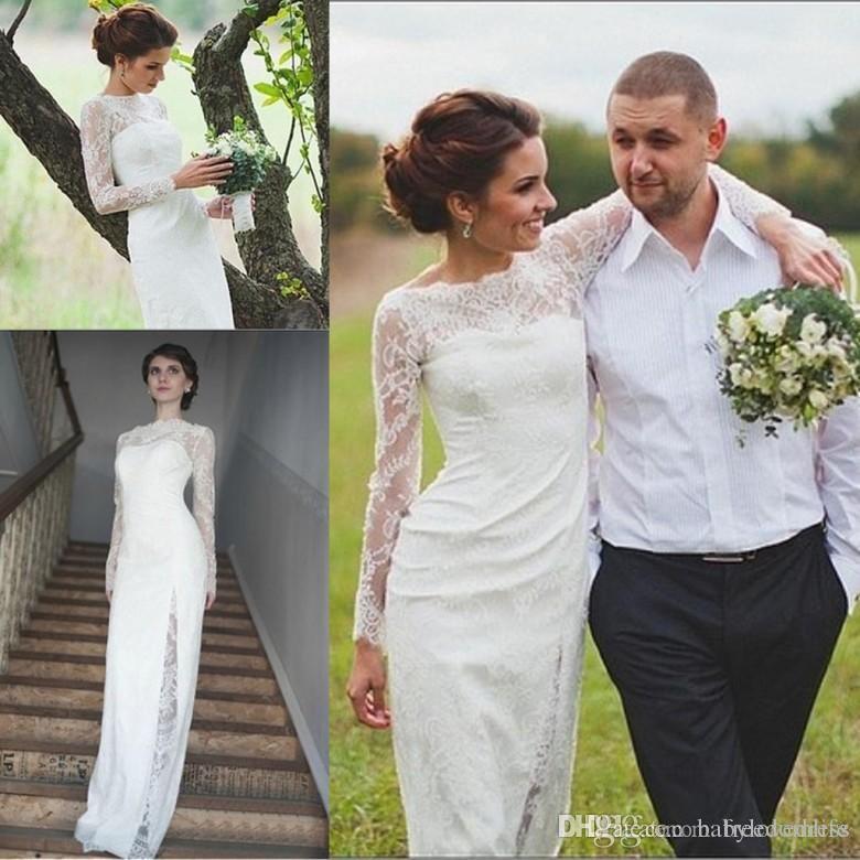 Designer unique pays de mariage Robes longues manches de dentelle Scoop Keyhole Retour Robes de mariée pour les mariages Garden