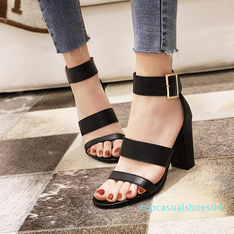 RIBETRINI New Concise Big Strap Shoes Women Fashion High Block Heels Sandals Summer Concise Solid Heeled Sandals t04