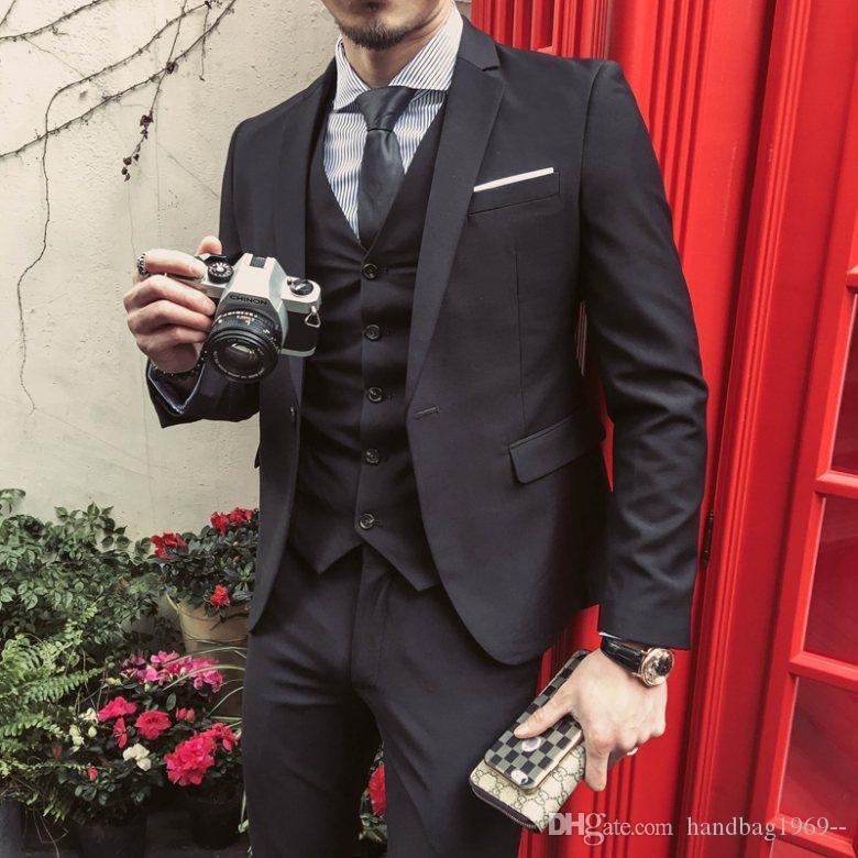 Diseño clásico Un botón de juegos de la boda Negro esmoquin novio muesca solapa padrinos de boda mejor hombre para hombre (chaqueta + pantalones + chaleco + Tie) D: 311