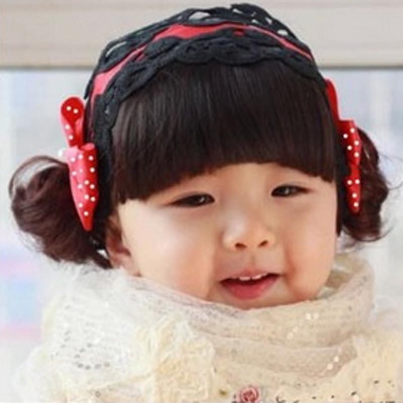 Mignon Bébés filles Noir Cheveux Bangs bowknot Head Band Photographie Bandeaux enfants Couvre-chef Filles élastique Headwrap Enfants Bébé Turb