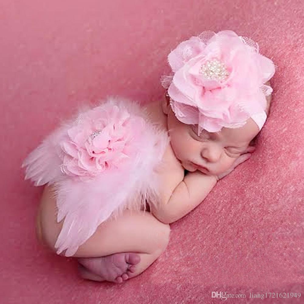 Baby Foto Requisiten Baby Haarband Kleid Set Kinder Federn niedlichen Kopf Blume Stirnband nur Haarschmuck