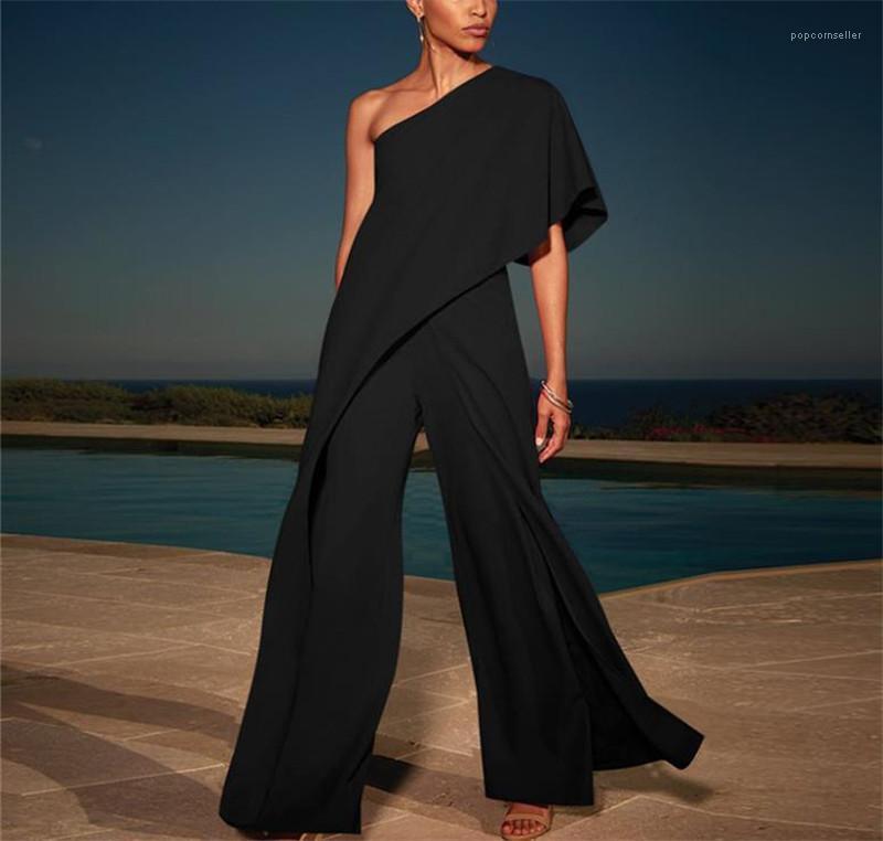 여자 느슨한 바지 점프 슈트 디자이너는 솔리드 점프 슈트에게 캐주얼 한 어깨 패션 여름을 넓은 다리 바지 여자