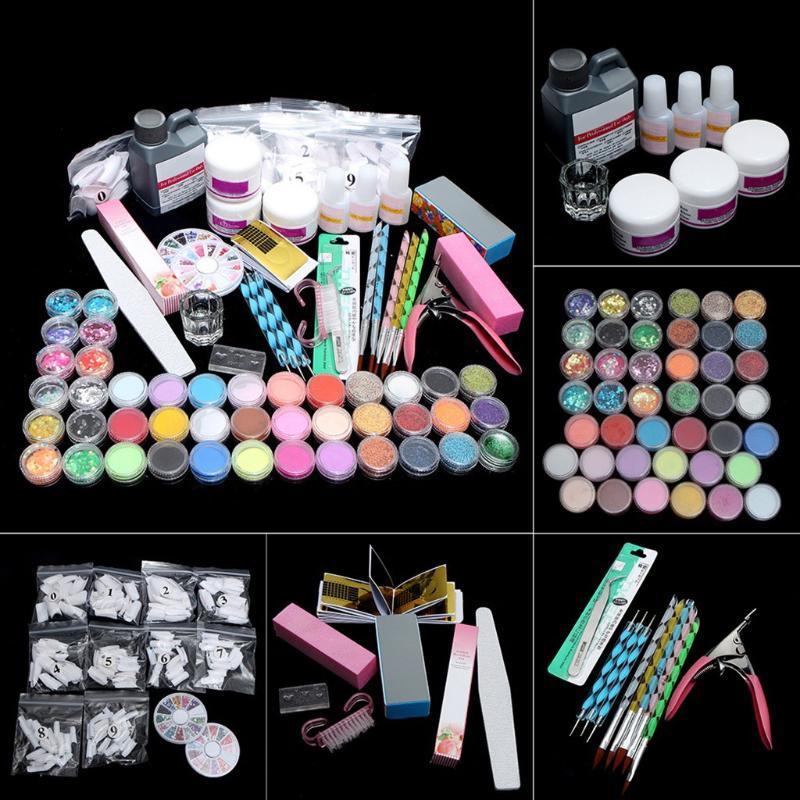Meilleures ventes 2020 Produits acryic poudre Art Nail Art Décorations Kit clou de brosse huile pour cuticules Outils Pen polir l'ensemble
