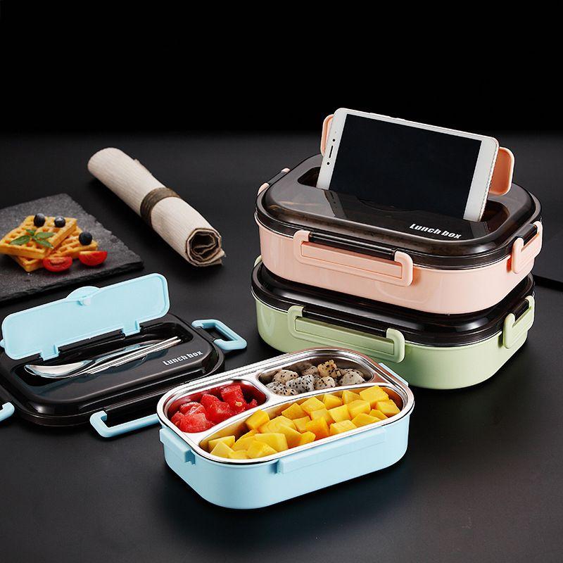 GESEW Taşınabilir Paslanmaz Çelik İzoleli Lunch Box 2020 Japon Yeni Stil Ayrı Bento Box Büyük Kapasiteli Gıda Konteyner