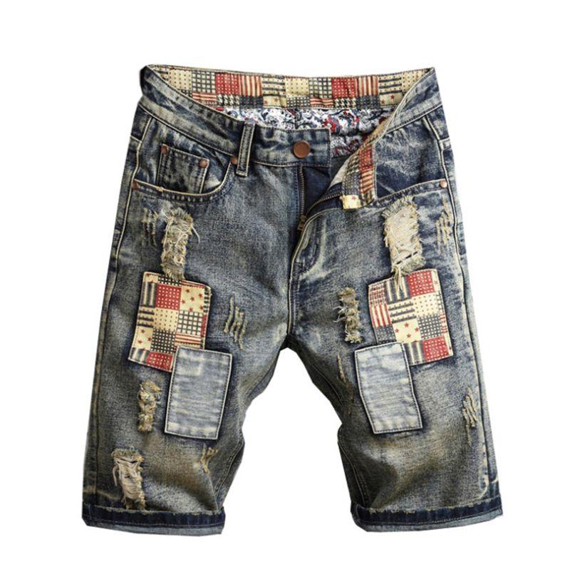 Été Hommes Jeans Shorts Trou Patchwork Ripped Broderie Hommes Shorts droites Washed Distrressed Designer Éraflure Garçons Pantalons Longueur du genou