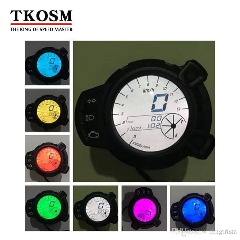 TKOSM Moto LCD Display Digitale Tachimetro Contagiri Contachilometri 7 Colori Livello Olio RPM Strumento Contachilometri Per Yamaha BWS125