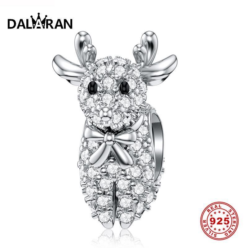 Dalaran Animais 925 Sterling Silver CZ Natal encantos Alce Veados Bead Para Mulheres Os encantos de prata 925 Original Fine Jewelry