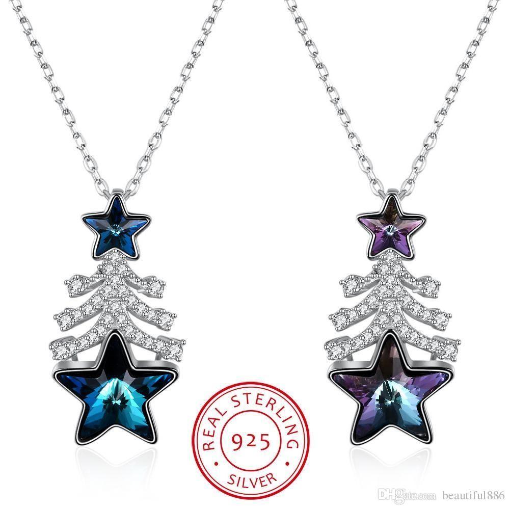 Kristalle von Swarovski Element S925 Sterling Silber Weihnachten Hot Style Geschenk Weihnachtsbaum Stern Kristall Charakter Anhänger Halskette