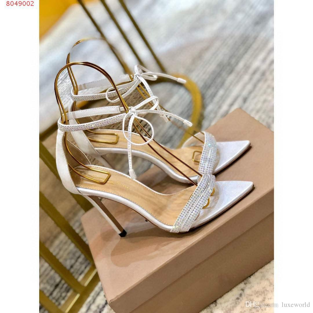 talones nuevo estilo elegante y puntiagudo señoras de la manera del dedo del pie sandalias de tacón alto del cordón de manera abierta decoración de diseño de diamante