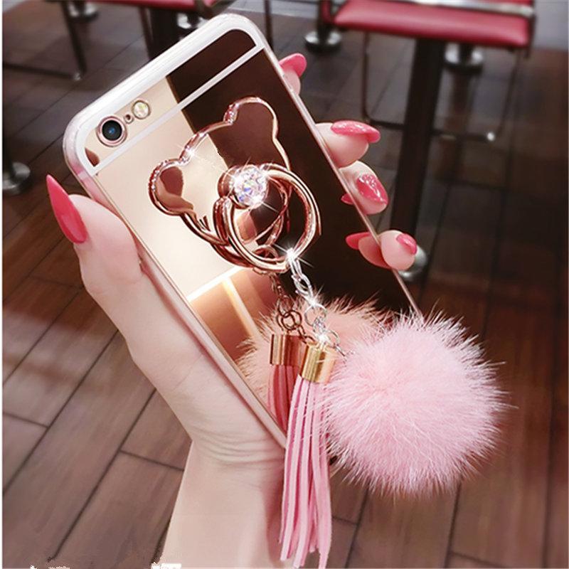 Coque Pour Telephone Portable Pour Huawei P10 P20 Lite Plus Mate 10 Pro Selfie P Smart Boule De Fourrure Glands Miroir Ours Boucle De Doigt Boucle ...