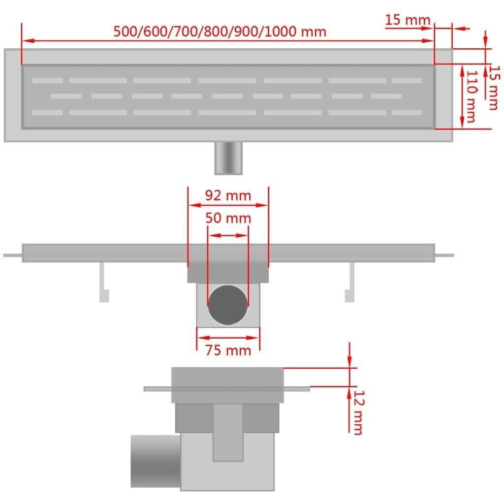 Organização de armazenamento Duche linear de drenagem de onda 730X140 mm Aço inoxidável Casa de Banho
