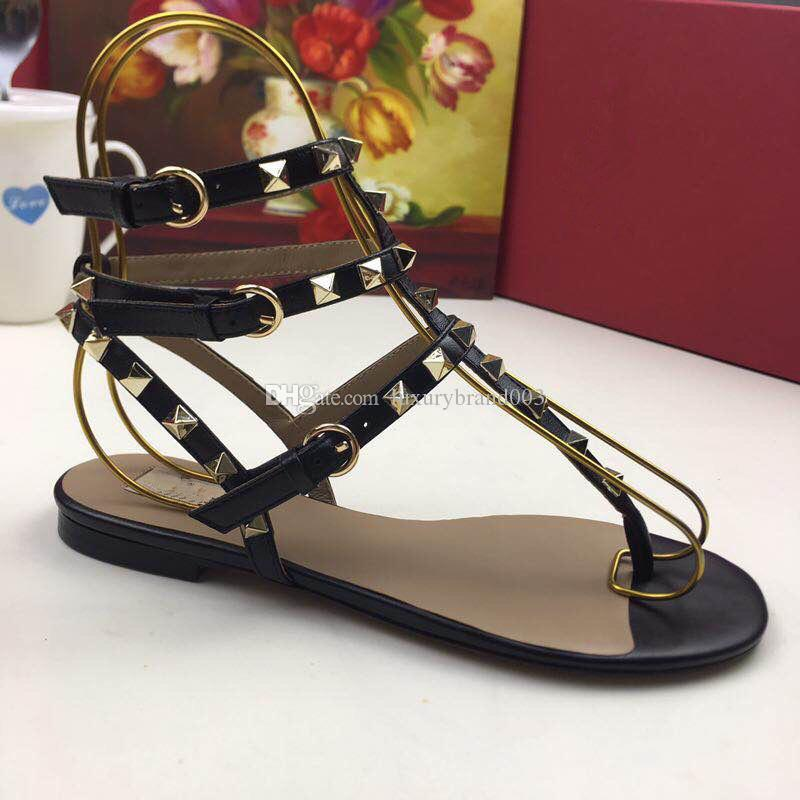2019 дизайнер женщин из натуральной кожи плоские ну вечеринку мода заклепки девушки сексуальные босые ботинки свадебные туфли сандалии с двойными ремнями размер 35-41