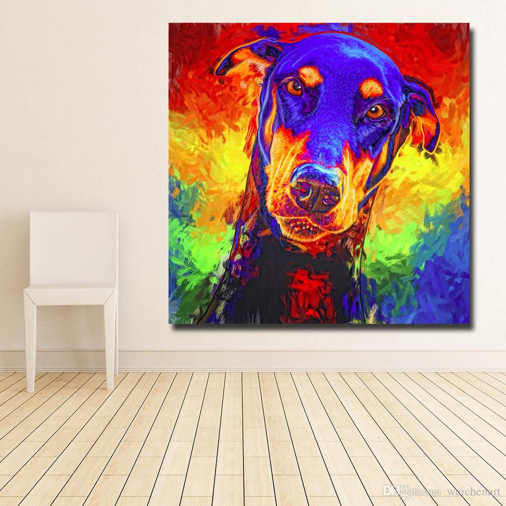 2019 1 Panel Modern Colorful Animal Art Dog Painting Poster Print Wall Art Cuadro For Festival Living Room Home Decor Canvas Painting No Frame From