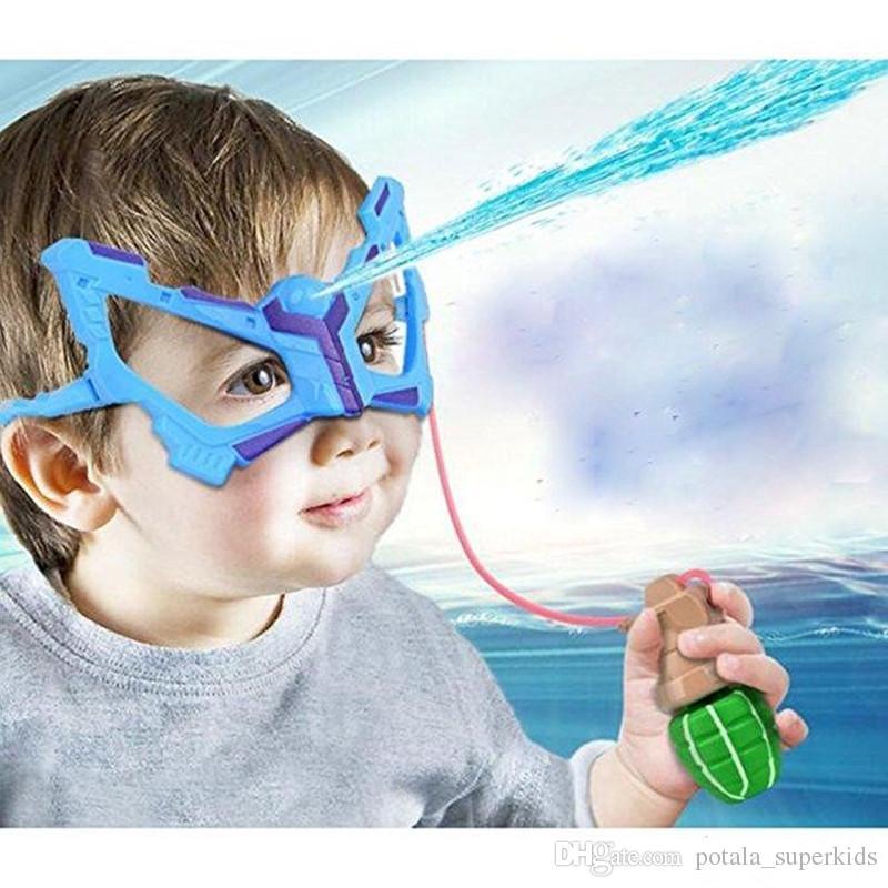 أطفال الأزرق نظارات المياه بندقية مع قنبلة يدوية مضحك المياه بندقية طويلة رماية المسدس سباحة مكبر الجدة رذاذ الماء المطاط الادسنس بندقية