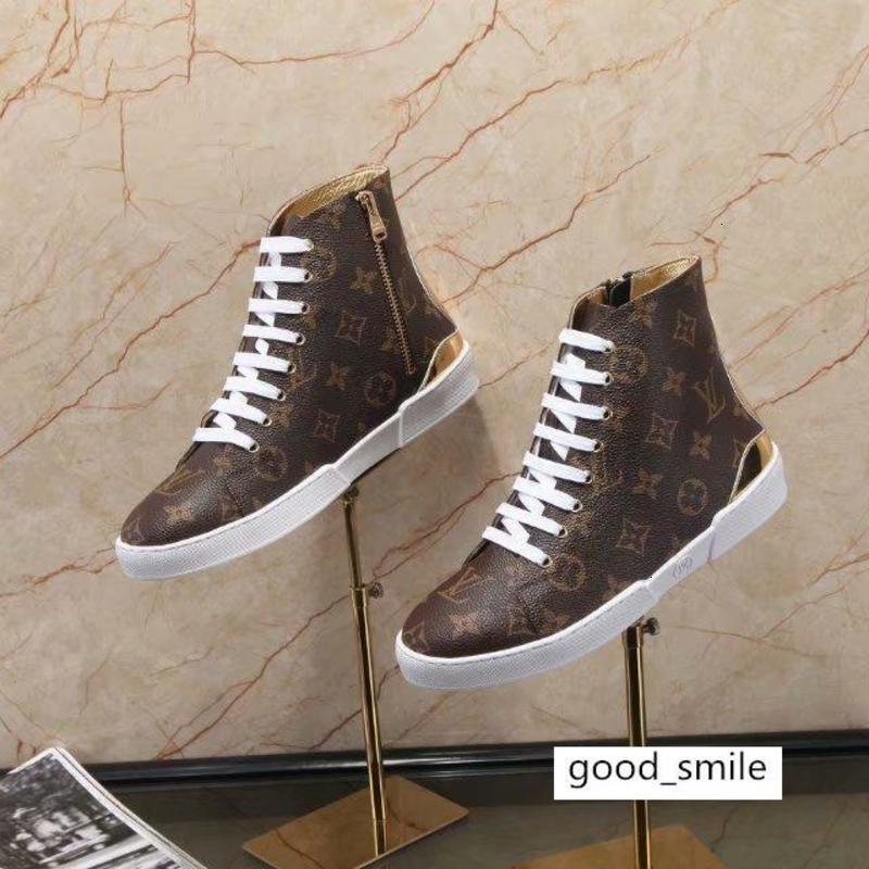 Luxo Mulheres Bordados calçados casuais Curto Botas Couro Impressão Carta Brown Stellar Sneaker Bota Com Box