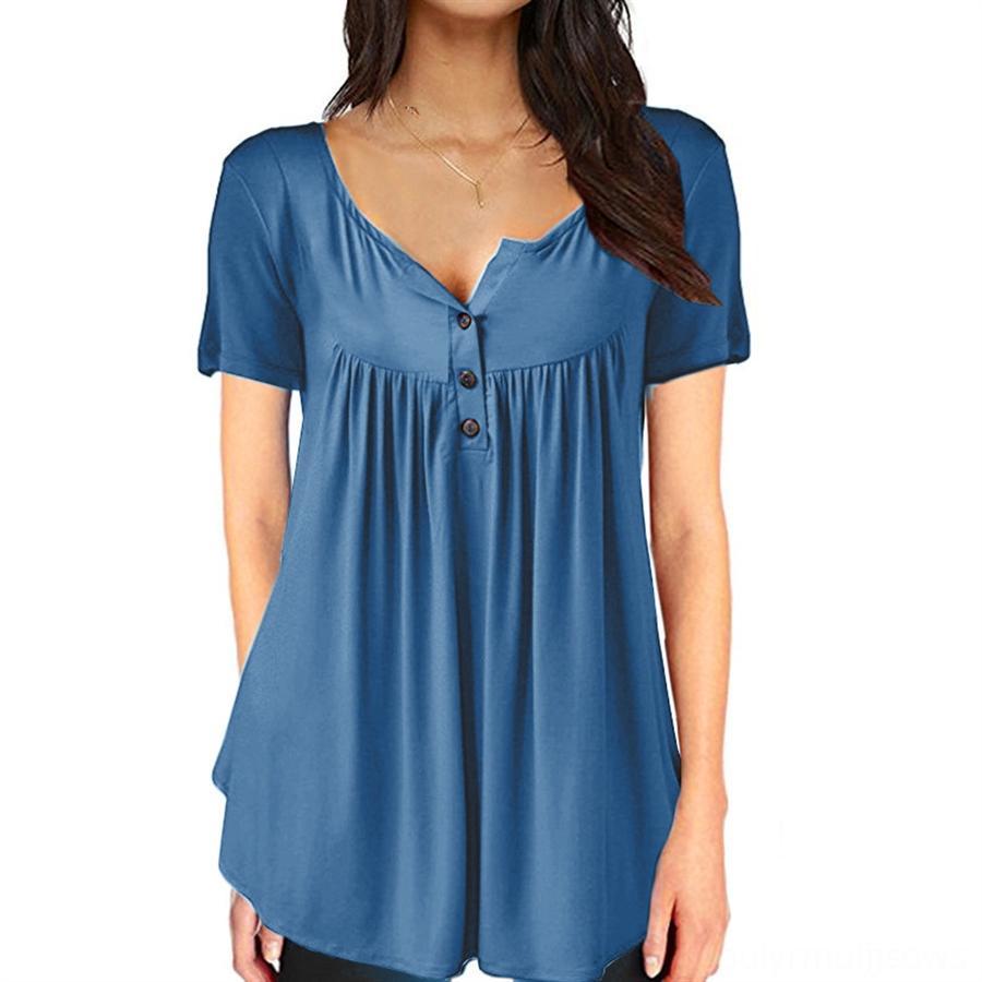 2020 Guangzhou cor sólida das mulheres 2020 Guangzhou cor sólida botão plissado soltas de manga curta plissada botão superior camiseta folgada curto-slee