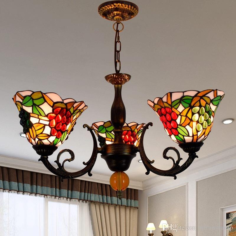 European Vintage Chandelier Tiffany Pastoral Uvas Lampshade Luminária Luminária Para Quarto Dinning Sala Estudo LED Levantamentos De Vitral