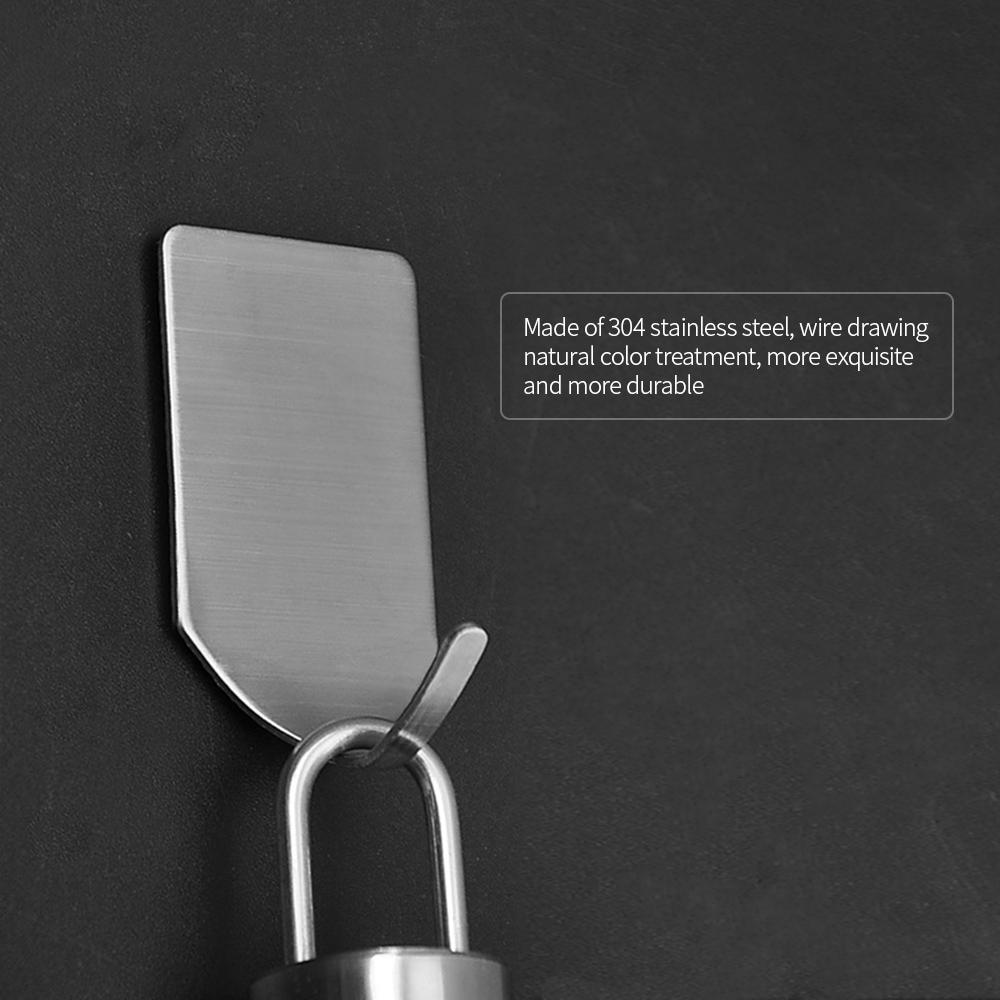 Hot 8pcs Adhesive Haken Home Küche Badezimmer Edelstahl Starker Wand-Aufhänger-Haken für Duschtuch Robe Mantel Keys Taschen
