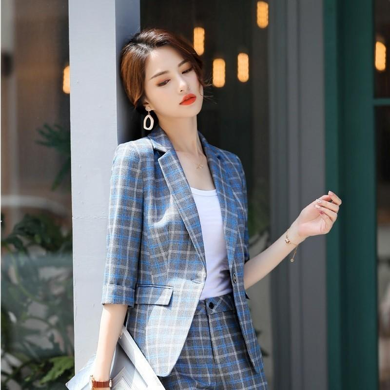 Novelty Fashion Plaid Half Sleeve Blazers Styles Jackets Coat For Women Business Office Work Wear Clothes Tops Blaser