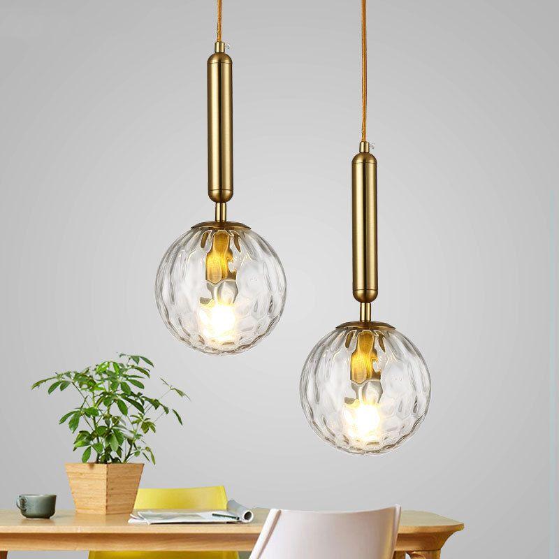 Nordic Bola de vidro do metal criativa luminária Hotel Home Sala de cabeceira quarto Decor Chandelier Fixação PA0653