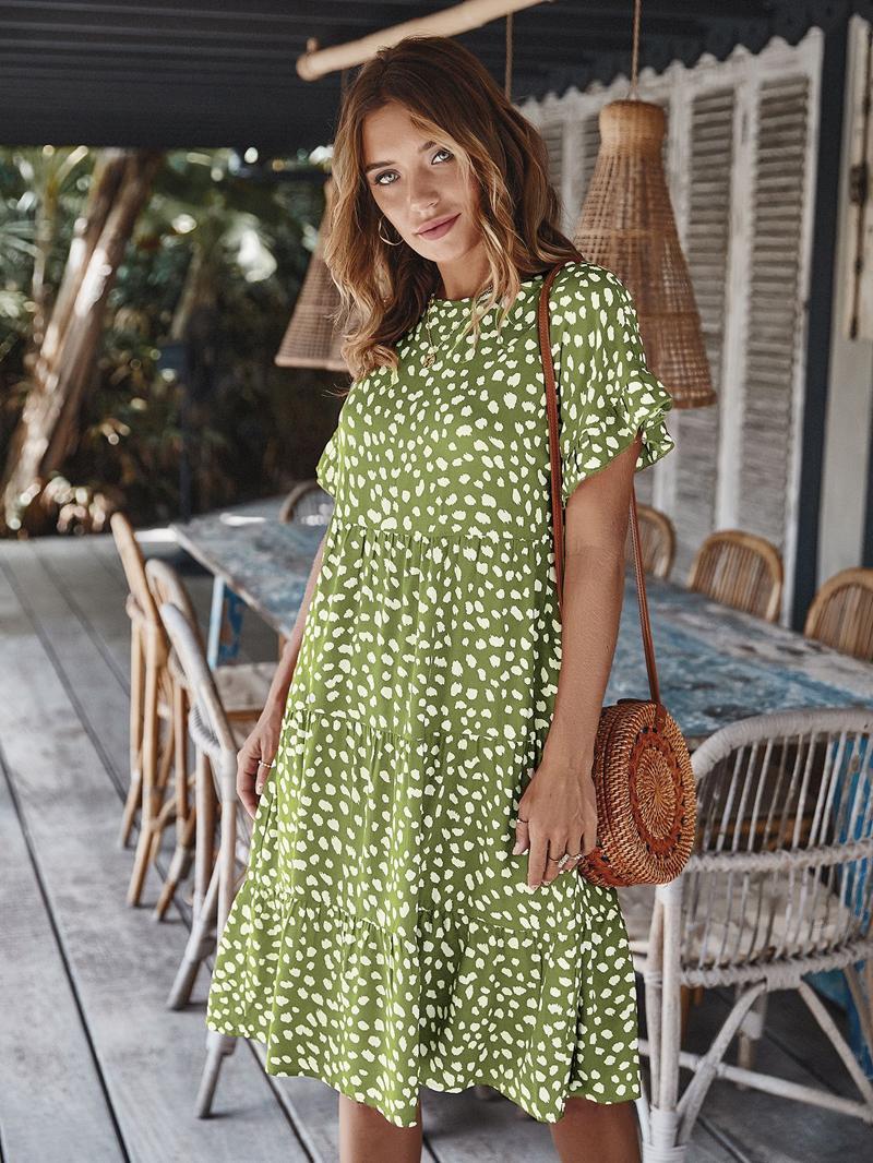 새로운 섹시한 무늬 짧은 여성복에 인과 느슨한 표범 인쇄 여름 드레스 오 짧은 소매를 주름 휴가 비치 드레스