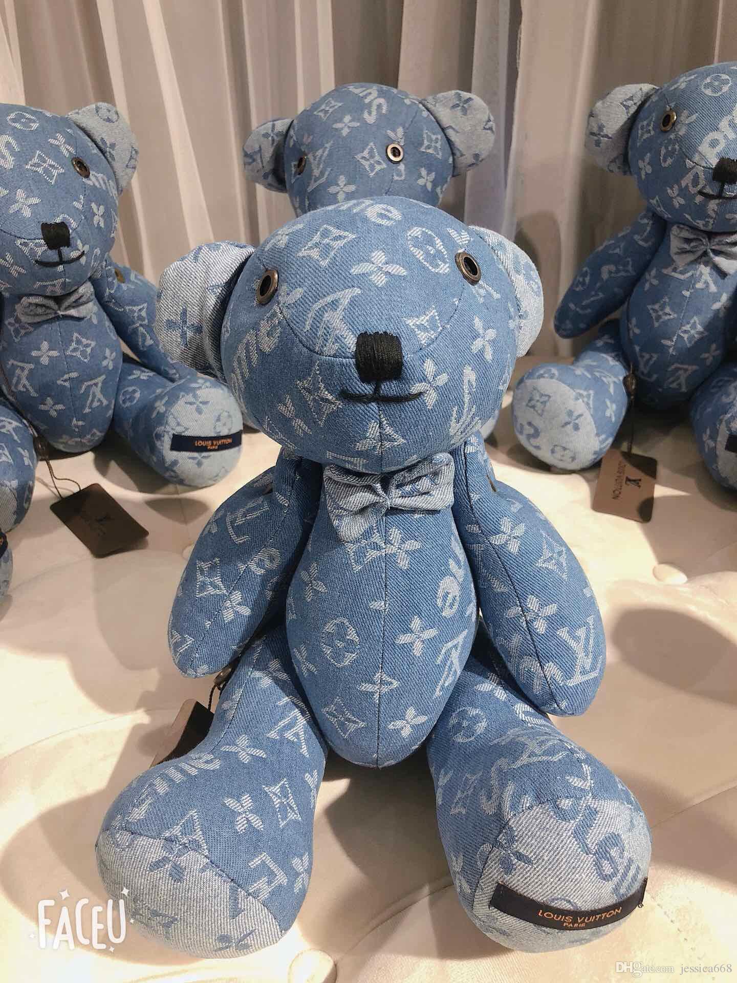 New Arrival Large Plush Toy Bear Denim Couple Bear Doll Hug Bear Children Girl Birthday Christmas Gift