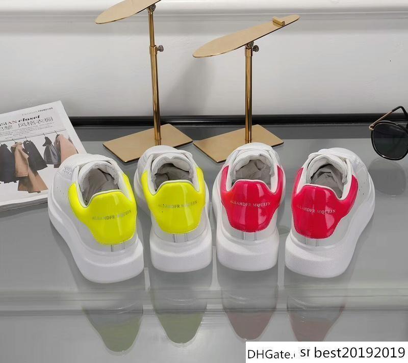 Di lusso scarpe di alta qualità Uomini Donne Rivetti piane della pelle bovina in vernice Alexander MQ bianca casual Scarpe Sneakers Taglia 35-46 8