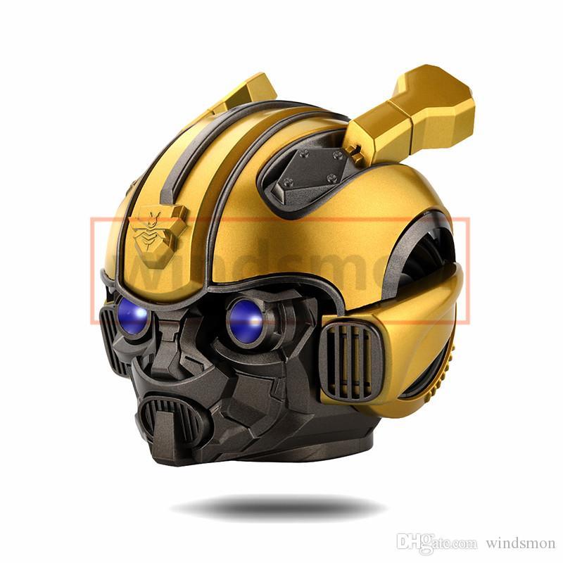 100pcs Bumblebee Helm Bluetooth drahtlose Minilautsprecher bewegliche Stereolautsprecher FM Radio USB-MP3-TF Smart-Subwoofer