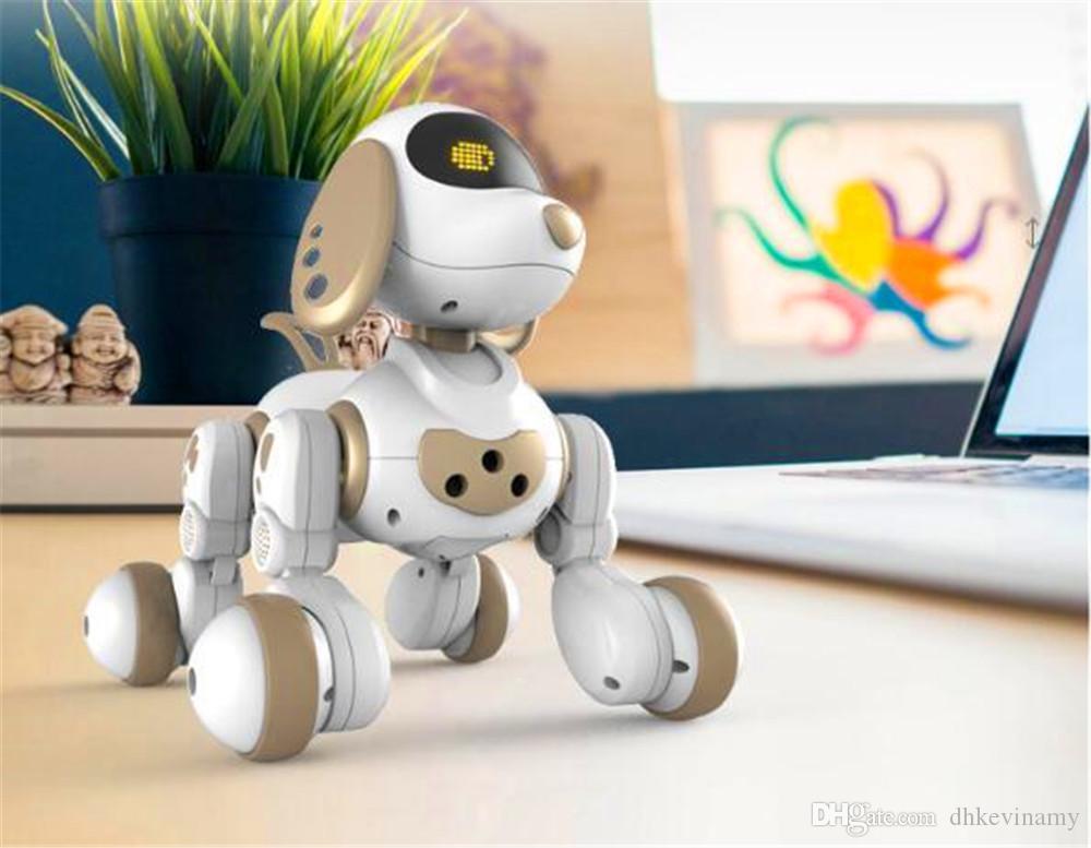 무선 원격 제어 스마트 로봇 강아지 어린이를위한 왕 싱 전기 개 교육 장난감 교육 색상 흰색 또는 금색
