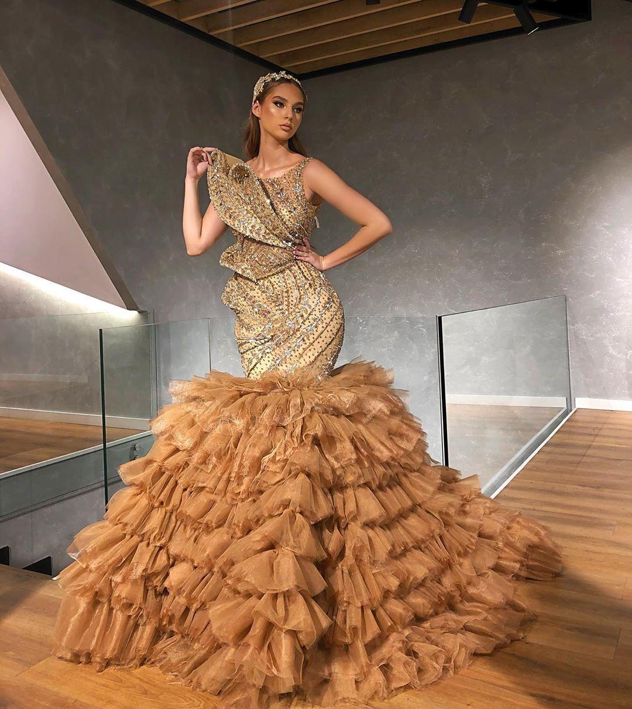 2020 арабский ASO EBI Gold роскошные русалки вечерние платья из бисера кристаллы выпускные платья сексуальные формальные партии второе приемные платье ZJ055