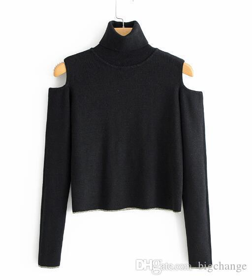 Women Turtleneck Black Sweater Women Clothing Pullovers off Shoulder 3 4 Sleeve Short Style Solid Knitted