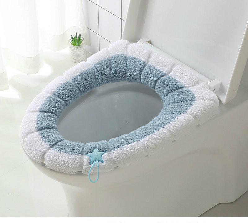 Universal higiênico macio Quente Seat Cover Home Decor lavável Mat assento Toilet Tampa Tampa conjunto de acessórios Coushion Com Handle